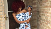 Mom makes adorable mommy-daughters outfit out of bed sheets
