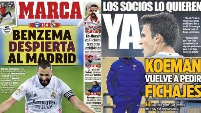 El triunfo del Real Madrid y las peticiones de fichajes del Barça en portada
