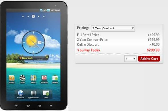 Verizon now offering 7-inch Galaxy Tab for $300 on a two-year contract