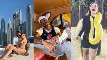 """Em Dubai, Nego do Borel curte """"vida de sheik"""" e Duda Reis sofre com cobra gigante"""