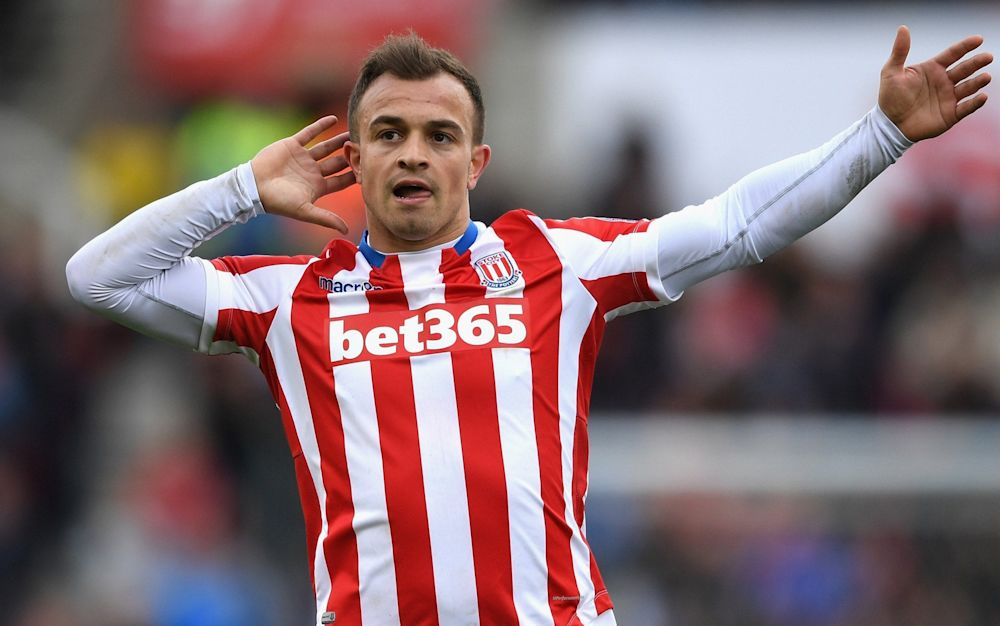 Xherdan Shaqiri celebrates scoring Stoke's third with a blistering, swerving strike - Getty Images Europe