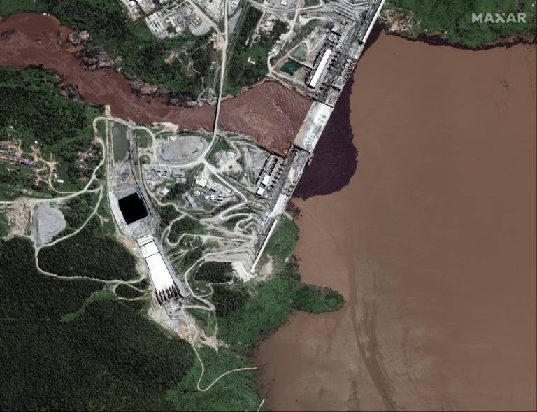 Satellite pictures this week showed water building up behind the dam (image by Maxar Technologies) (AFP Photo/Handout)