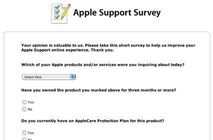 Apple soliciting feedback from Support Site visitors