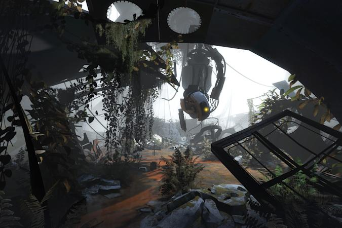 GlaDOS amongst ruins in 'Portal 2'