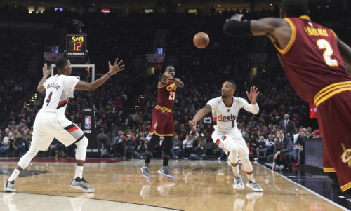 Damian Lillard finds himself caught in the middle of the Kyrie Irving and LeBron James feud. (AP)