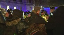Protesters clash with police in London following election