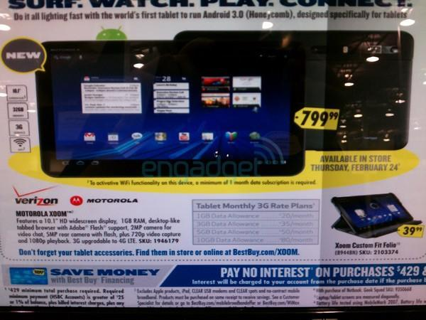 Best Buy ad prices Motorola Xoom at $800, affirms February 24th launch date