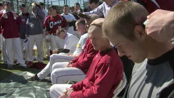 Temple baseball team goes bald for cancer fundraiser