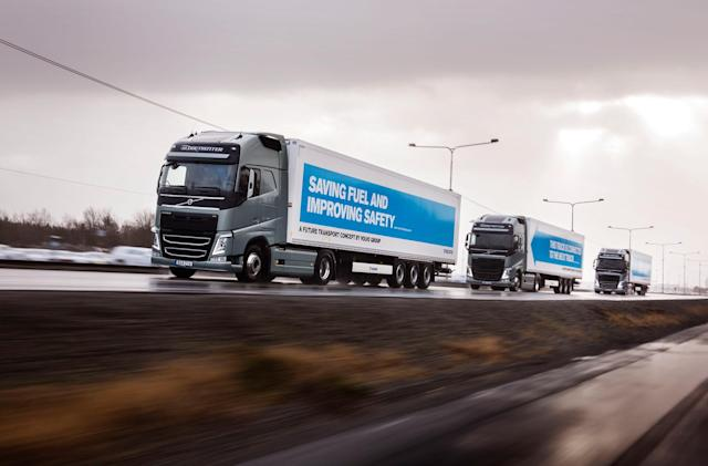 Semi-autonomous truck convoys due to hit UK roads next year