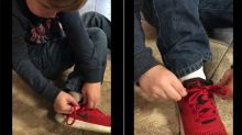 Un niño de cinco años te sorprenderá con su curioso y sencillo tutorial para atarse las agujetas