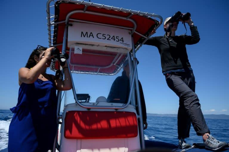 Environmentalits Marion Leclerc and Laurene Trudelle monitor the sea (AFP Photo/Christophe SIMON)