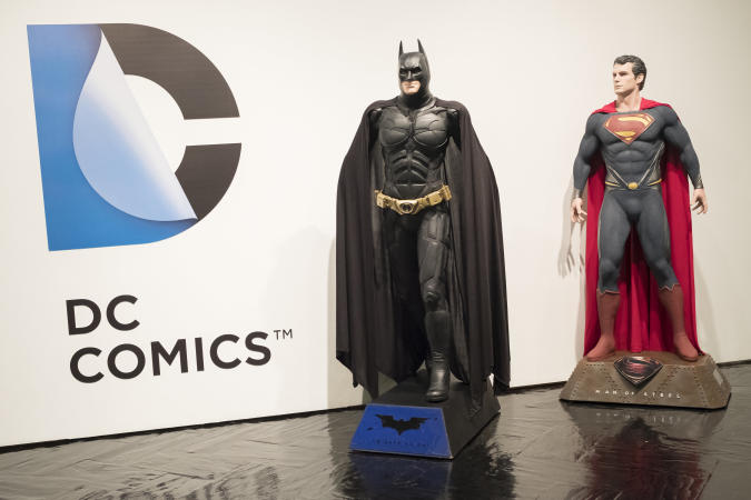 exhibition 'Universo DC Comics' (lit. DC Universe Comics), during its opening at Fernando Fernan Gomez Cultural Center in Madrid, Spain, 29 March 2016. The show, which reviews 80 years of the US comic book publisher through more than 150 original comics, original superherores outfits and audiovisual material, runs from 24 March until 21 April 2016 Photo: Oscar Gonzalez/NurPhoto (Photo by Oscar Gonzalez/NurPhoto via Getty Images)