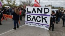 Demonstrators march in Caledonia to support land reclamation camp