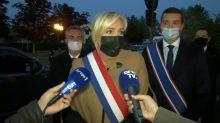 Assassinat de Samuel Paty: visite surprise de Marine Le Pen devant le collège du professeur tué