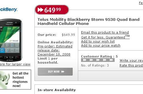 Telus BlackStorm Storm available for pre-order at Future Shop