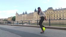 Female freestyle soccer player does incredible tricks in heels