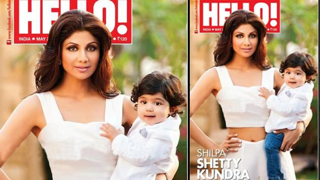 Viaan with mommy Shilpa on cover page
