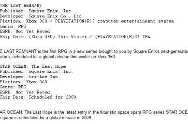 Star Ocean 4 currently Xbox exclusive, Last Remnant delayed on PS3