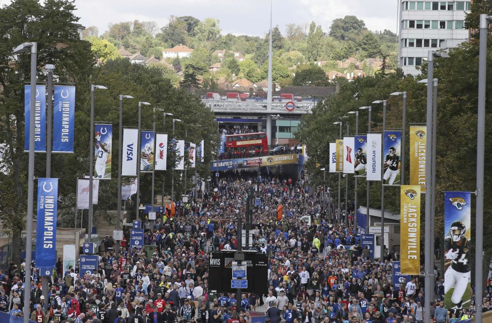 Fans line Wembley Way as they arrive for last year's Jaguars-Colts game in London. The Jags have routinely drawn more than 80,000 for each of their London games. (AP)