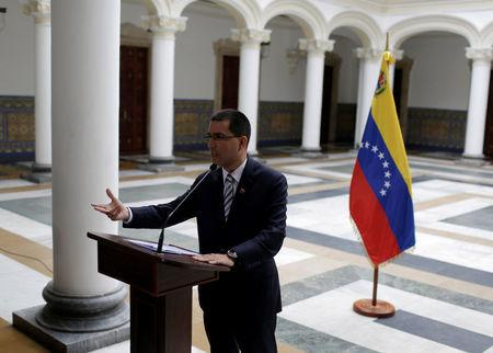 Venezuela's Foreign Affairs Minister Jorge Arreaza talks to the media during a news conference in Caracas, Venezuela, August 19, 2017. REUTERS/Marco Bello