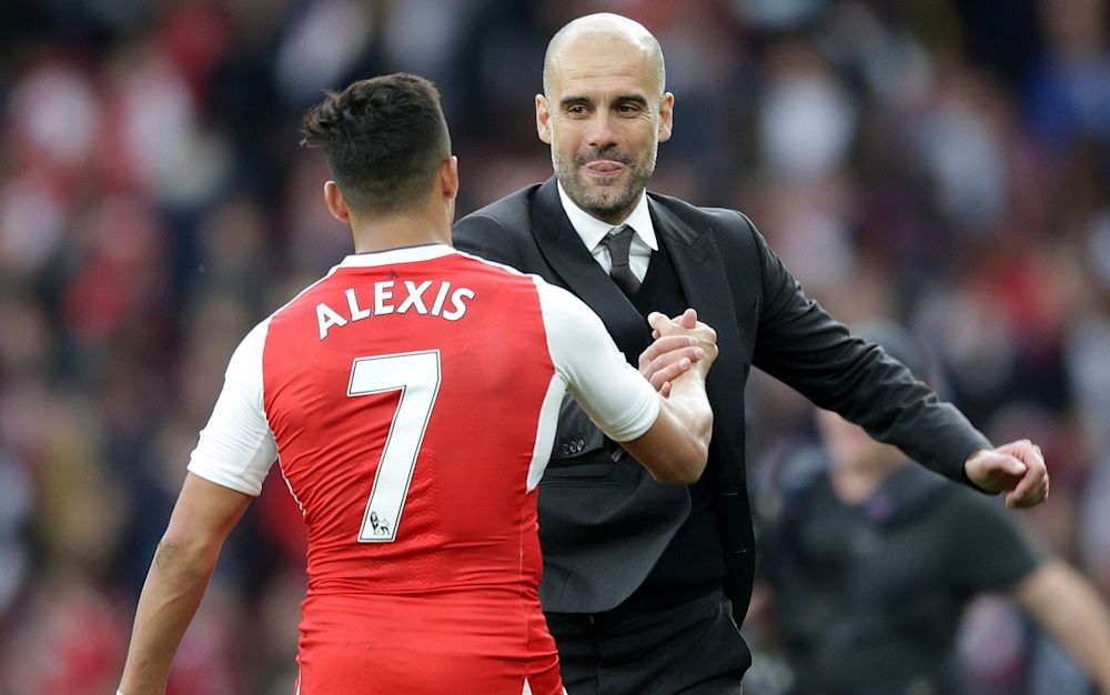 Shaken not stirred: Pep seemed happy enough with a point, Alexis tried everything to deny him - Rex Features