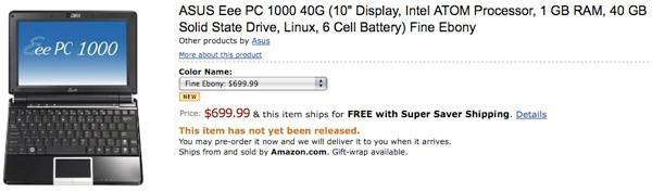 The ASUS Eee PC 1000 shows up for pre-order at Amazon