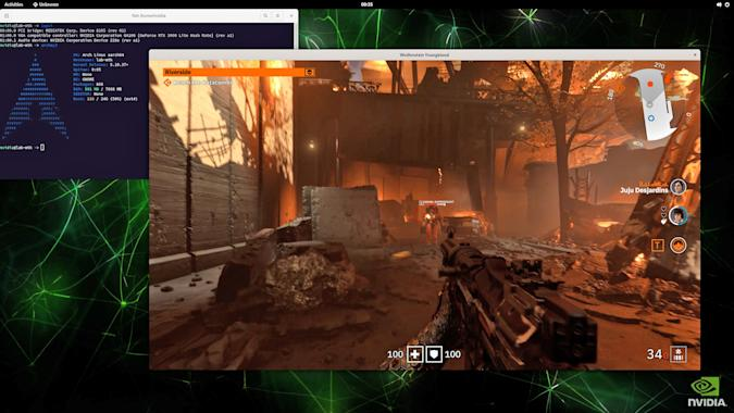 An onscreen example of NVIDIA's  Wolfenstein: Youngblood ray tracing.