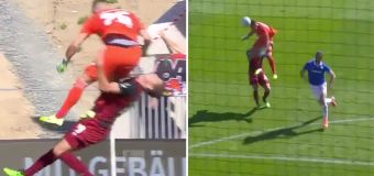 'Calamity': Keeper cleans out defender in mix-up