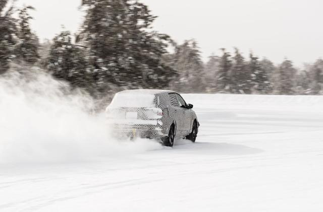 Watch Ford's Mustang-inspired EV crossover race around in the snow