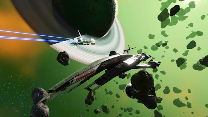 Mass Effect Normandy starship in No Man's Sky