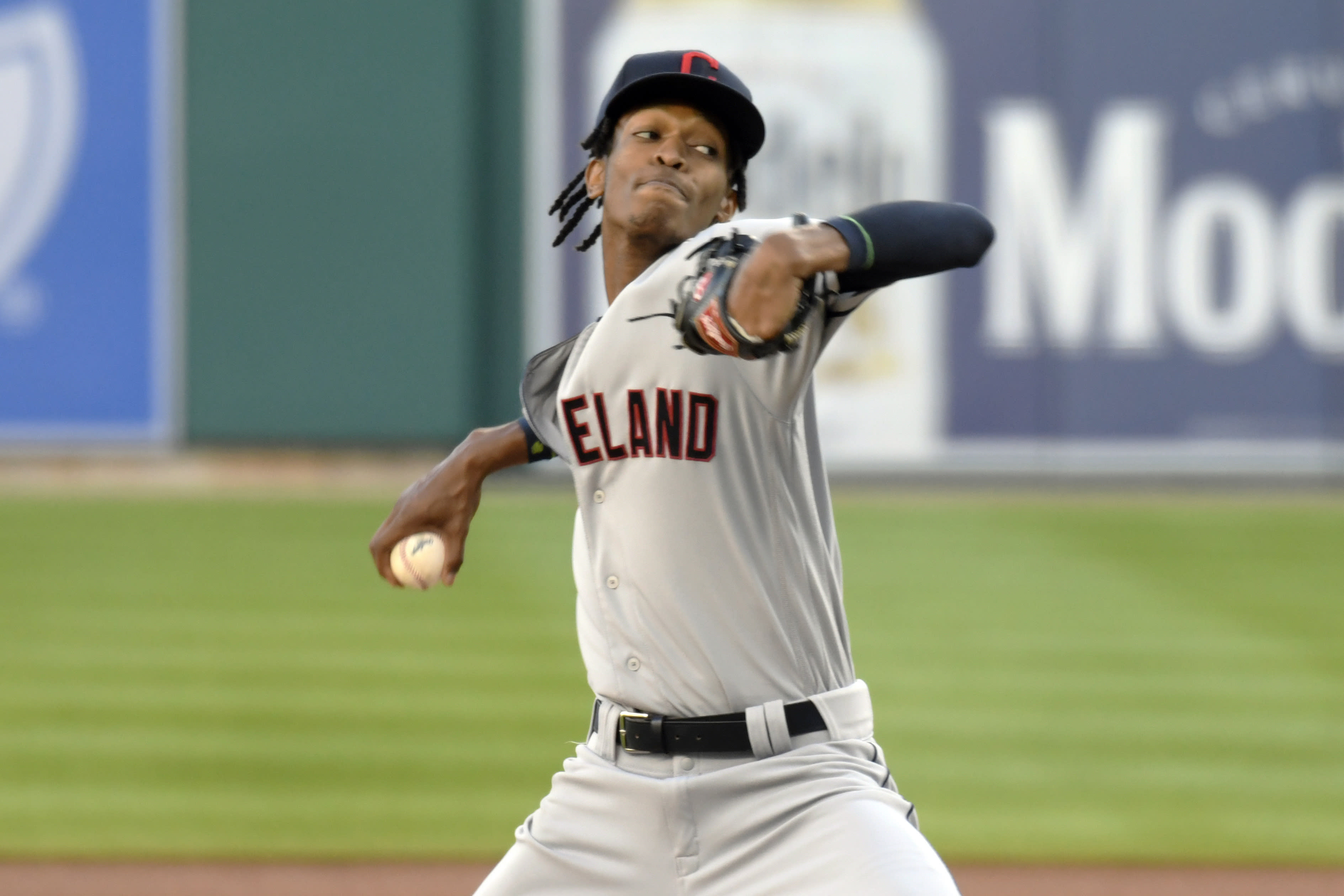 Cleveland Indians starting pitcher Triston McKenzie throws against the Detroit Tigers in the first inning of a baseball game Saturday, Sept. 19, 2020, in Detroit. (AP Photo/Jose Juarez)