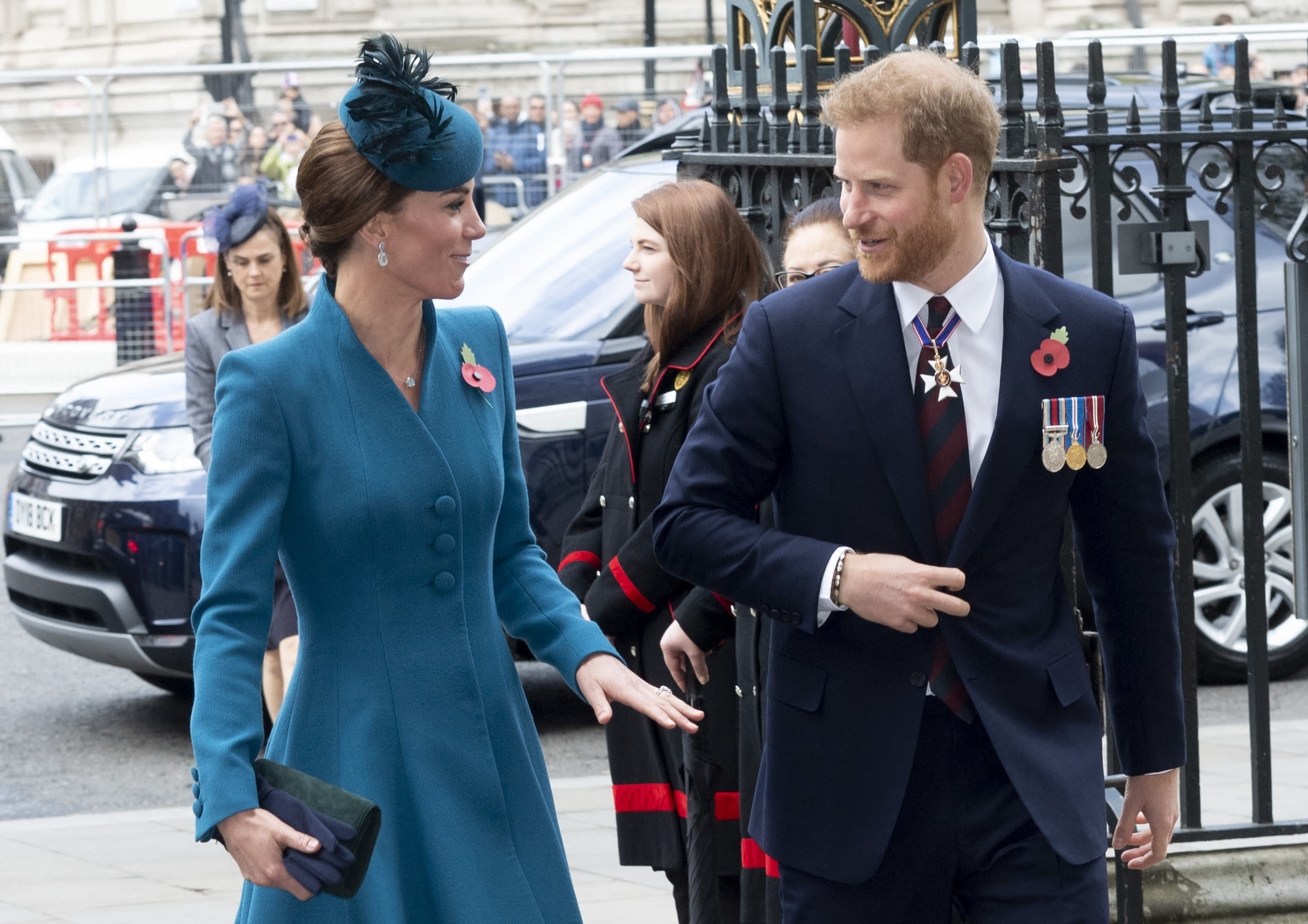 LONDON, ENGLAND - APRIL 25: Catherine, Duchess of Cambridge and Prince Harry, Duke of Sussex attend the ANZAC Day Service of Commemoration and Thanksgiving at Westminster Abbey on April 25, 2019 in London, United Kingdom. (Photo by Mark Cuthbert/UK Press via Getty Images)