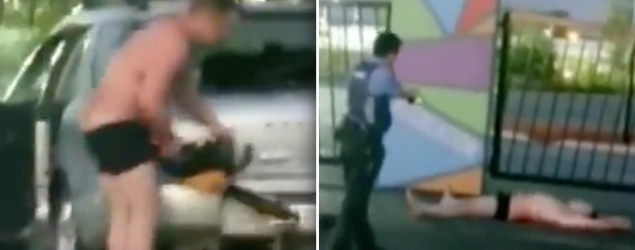 Half-naked man filmed in bizarre chainsaw meltdown outside Bunnings