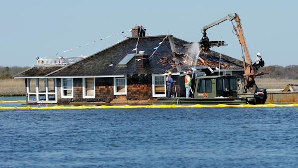 Demolition begins on house in Barnegat Bay