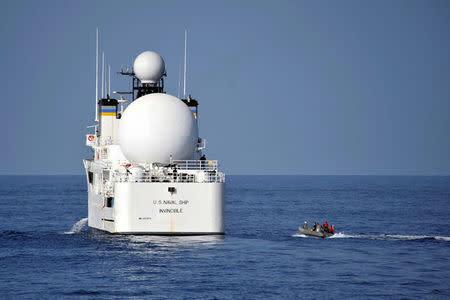 The Military Sealift Command missile range instrumentation ship USNS Invincible in Arabian Sea