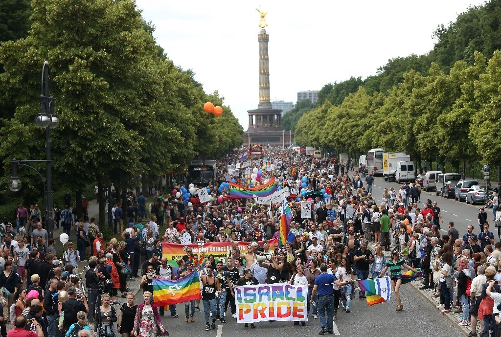 Gay parade in front of the Siegesaeule, or Victory Column, in Berlin on June 27, 2015