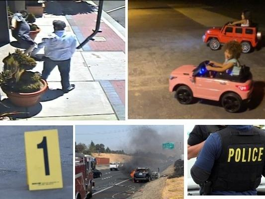 An alleged, sidewalk assault, children's stolen vehicles and a car fire that spread to hillside are among this week's police and fire stories throughout the East Bay.