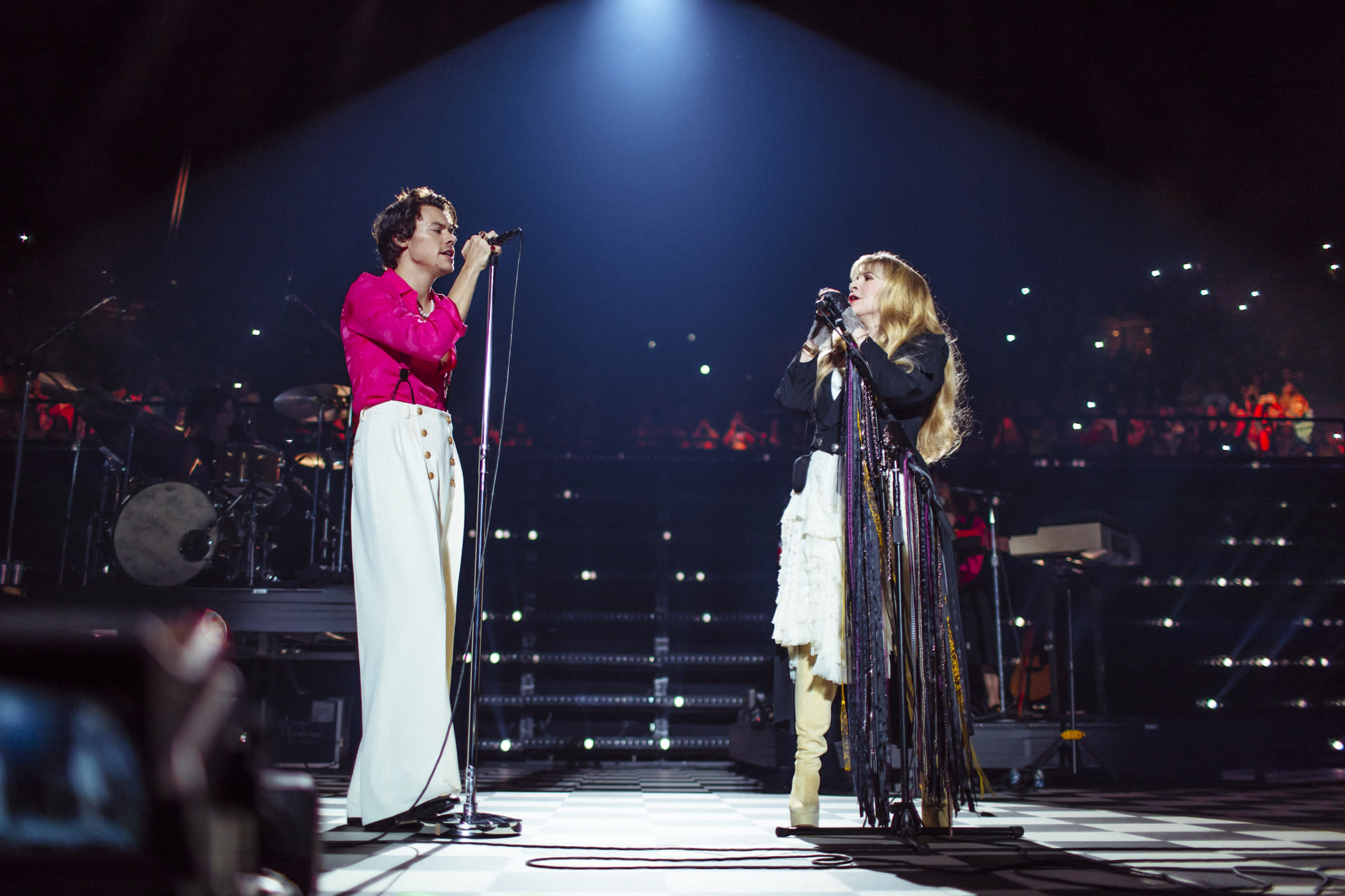 Watch Harry Styles reunite with 'magical gypsy godmother' Stevie Nicks at L.A. record release show