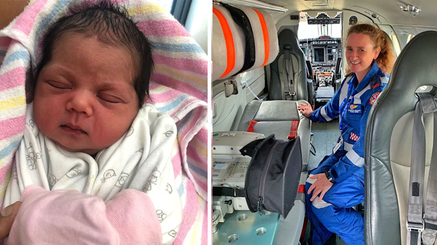 Baby born 4,500 metres in the air above rural NSW