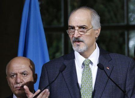 Syrian government's head of delegation, Bashar al-Jaafari attends a news conference after a meeting on Syria at the European headquarters of the United Nations in Geneva, Switzerland, April 15, 2016. REUTERS/Denis Balibouse