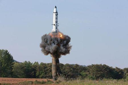 The scene of the intermediate-range ballistic missile Pukguksong-2's launch test