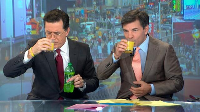 Stephen Colbert, George Stephanopoulos Open 'GMA' With Orange Juice and Mountain Dew