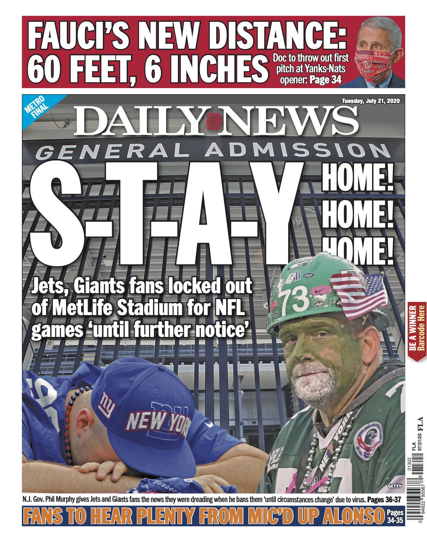 No hope yet for NFL fans at MetLife Stadium, but Giants planning for all contingencies
