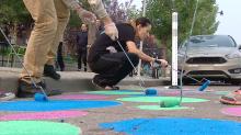 Calgary community tests traffic-calming polka dots