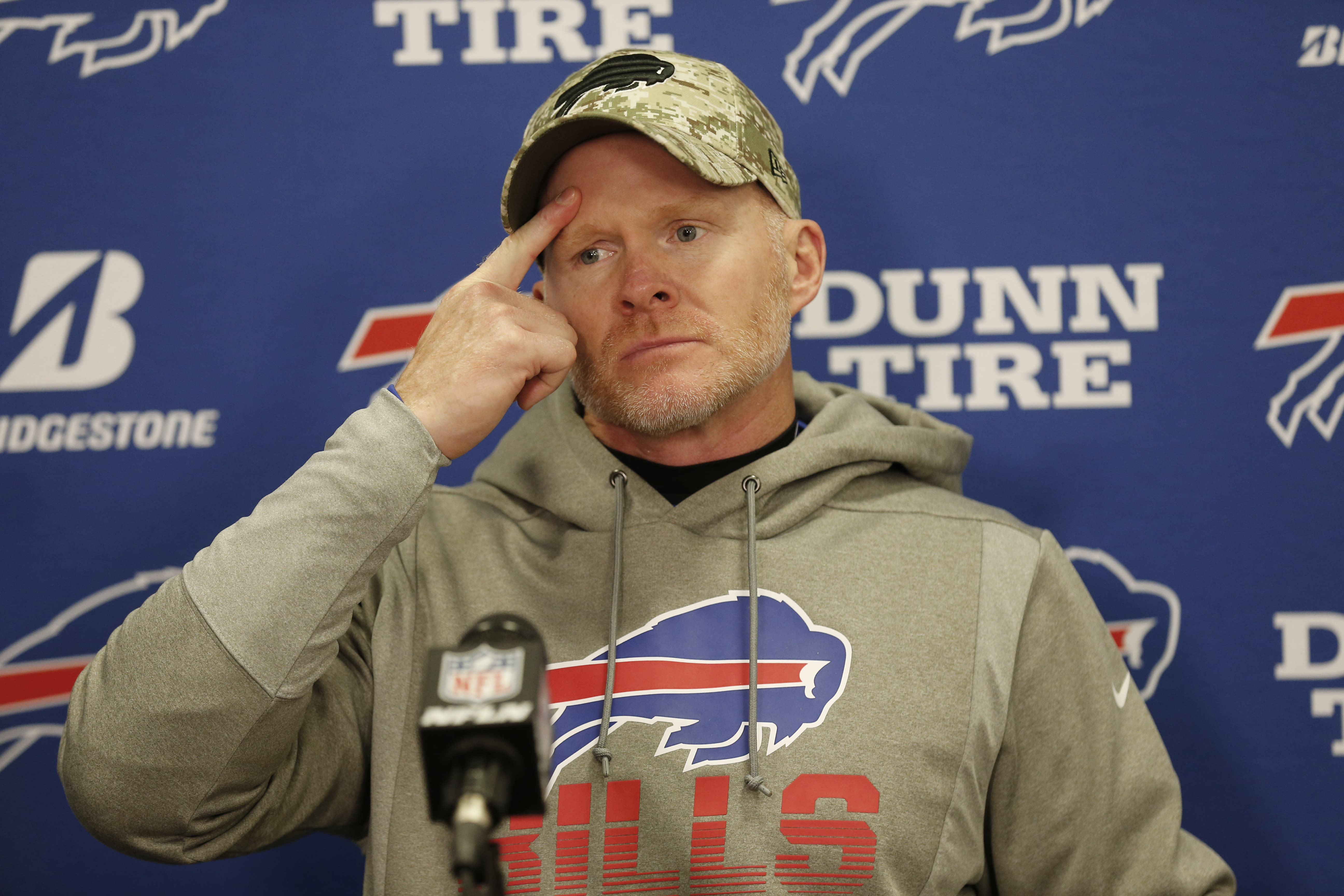 Buffalo Bills coach Sean McDermott answers questions after the Cleveland Browns defeated the Bills 19-16 in an NFL football game Sunday, Nov. 10, 2019, in Cleveland. (AP Photo/Ron Schwane)