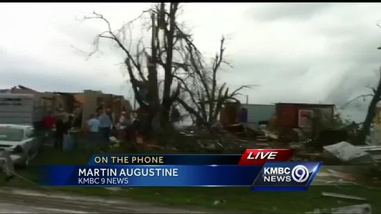 Tornado damages buildings near Corning, Kan.
