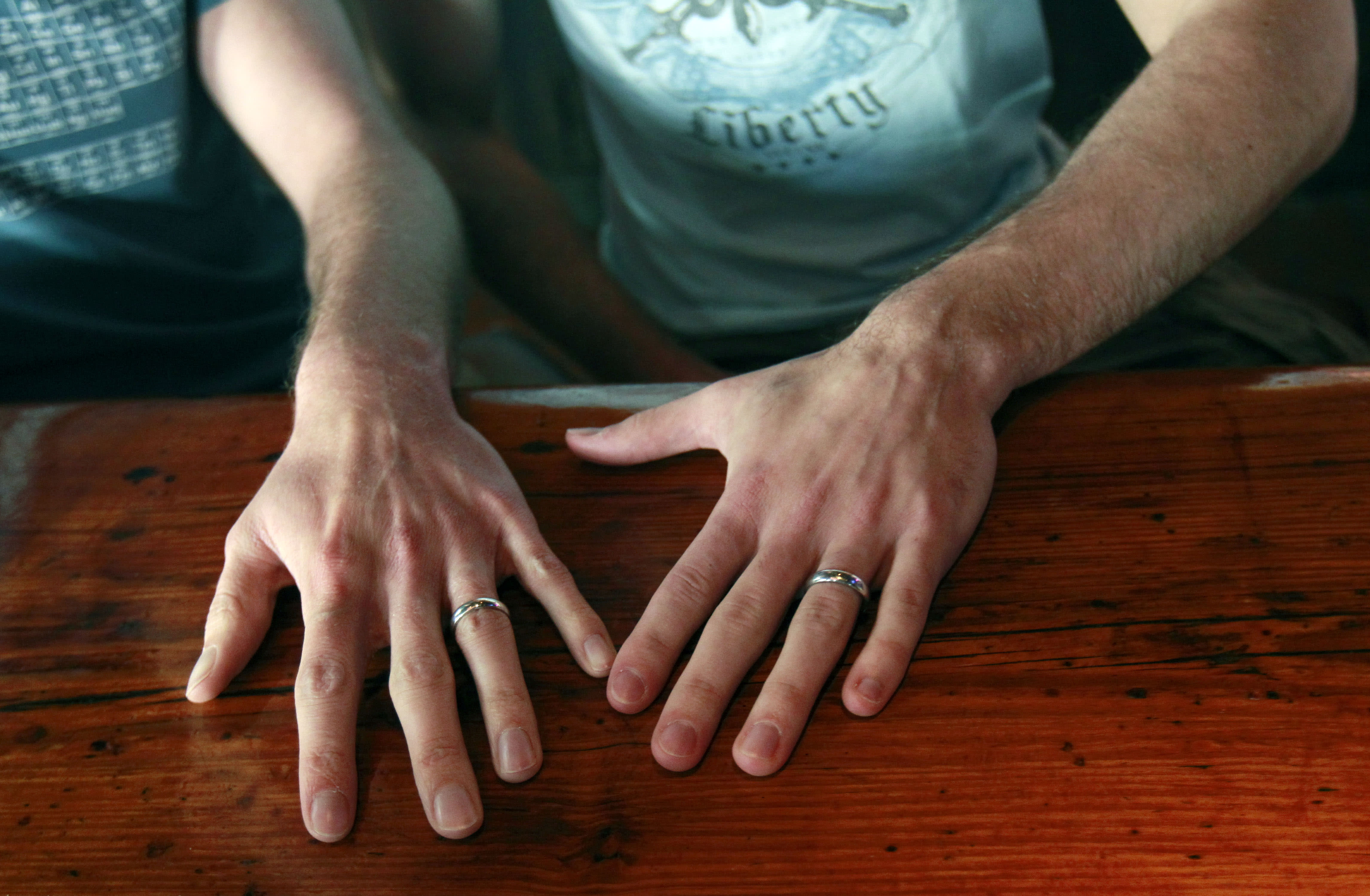 David Peters, right, and Luke Whited, a gay couple who were joined in a civil union in their home state of Illinois, show their rings inside the Bourbon Pub, a gay bar, after being interviewed about President Obama's statement of support of gay marriage, in New Orleans, Wednesday, May 9, 2012. Ending months of equivocation, Obama declared his support for gay marriage, the first U.S. president to do so. His announcement, a day after North Carolina conservatives turned out in force to vote to strengthen the state's gay marriage ban, injects a potentially polarizing issue into the 2012 race for the White House. (AP Photo/Gerald Herbert)