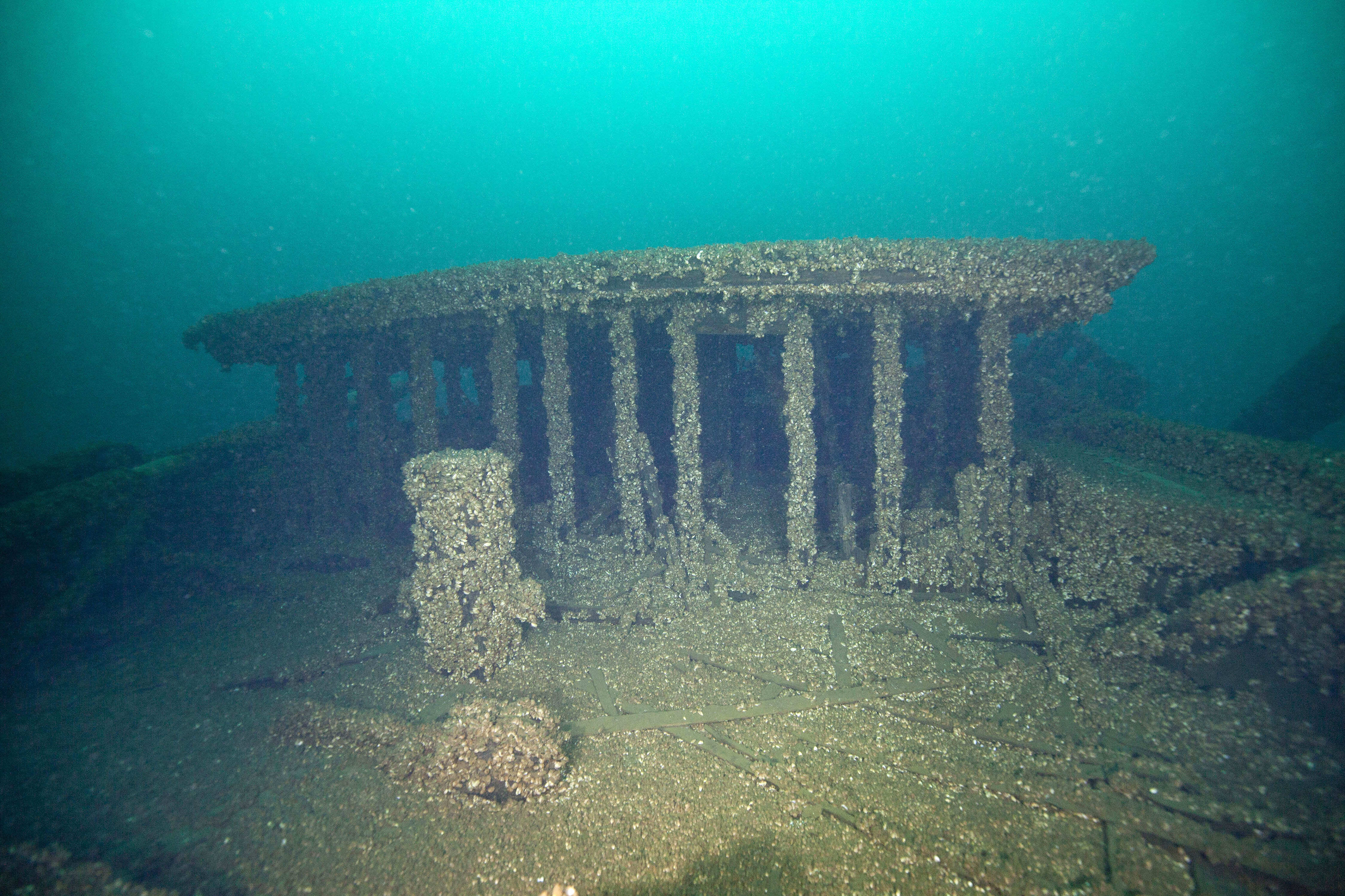 This Aug. 24, 2019, photo provided by John Janzen, shows part of the wreckage of the schooners Peshtigo and St. Andrews, lost in 1878 near Beaver Island in northern Lake Michigan. A group of maritime history enthusiasts led by Boyne City, Michigan diver and explorer, Bernie Hellstrom have announced the discovery of the schooners. The site was located in 2010 by Hellstrom during one of his many trips to explore the Beaver Island archipelago. (John Janzen via AP)