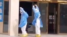 Medical workers perform dance routine to celebrate coronavirus patients being discharged from the hospital