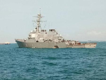 Ten sailors missing after U.S. warship collides with tanker near Singapore